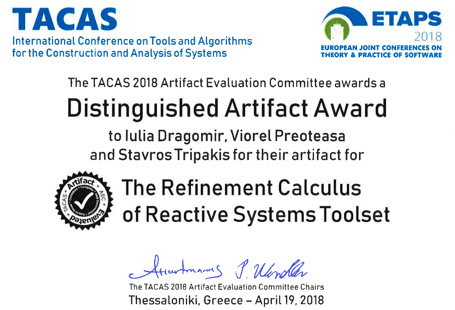 TACAS 2018 Distinguished Artifact Award